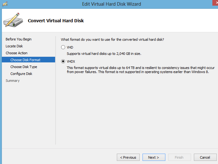 How to convert a virtual hard disk file (VHDX to VHD
