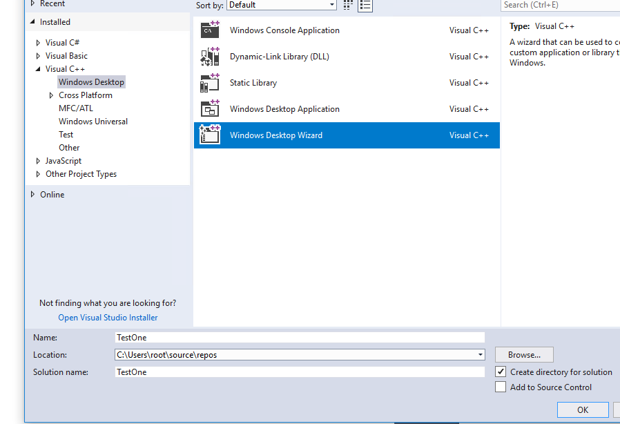 Visual Studio Windows desktop application (Visual C++)