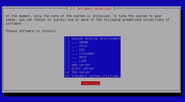 Debian 9 Installer Software Selection