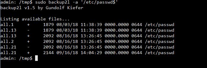 backup2l -a /etc/passwd