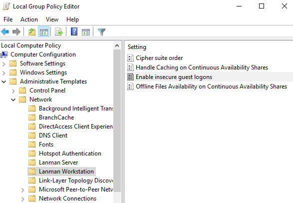 Local Group Policy Lanman Workstation Guest Logon