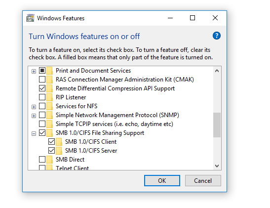 Windows Features SMB 1.0 CIFS